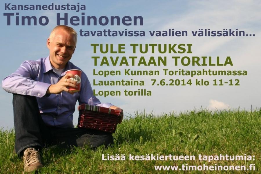 Tänään Lopen torilla olen paikalla klo 11-12 Lopen Kunnan kesätapahtumassa.