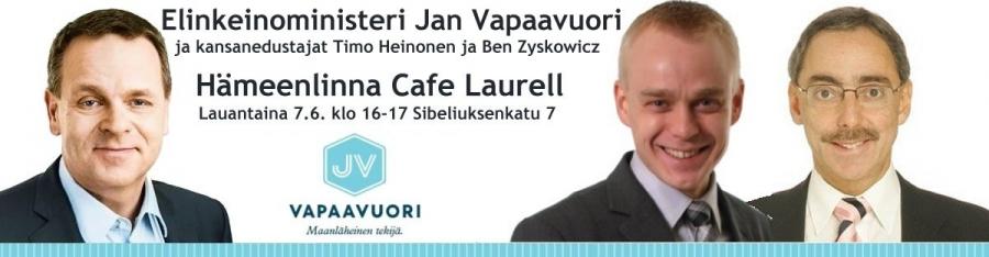 Ja illansuussa kello 16-17 Jan Vapaavuoren ja Ben Zyskowiczin kanssa Hämeenlinnassa Cafe Laurellilla. Nähdään!