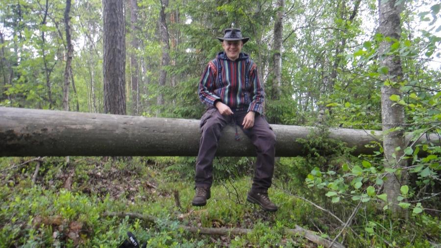 Pienen nelivuotiaani kanssa metsäretkellä juhannussunnuntaina. Kumpikin otti toisesta kuvan tällä puulla ja kumpikin puulta myös putosi :)