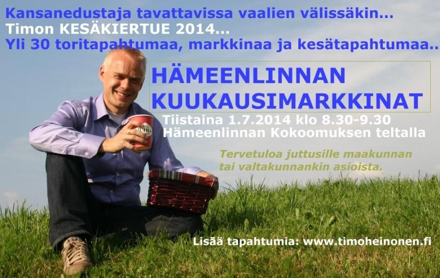KESÄKIERTUEENI JATKUU...   Huomenna tiistaina 1.7.2014HÄMEENLINNAN KUUKAUSIMARKKINOILLAklo 8.30-9.30.   Tervetuloa juttusille aamukahvien aikaan.