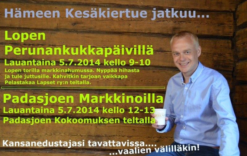Kesäkiertue 2014 jatkuu... lauantaina 5.7.2014 Lopen Perunankukkapäivillä kello 9-10 ja Padasjoen Markkinoilla 12-13. Tervetuloa juttusille!