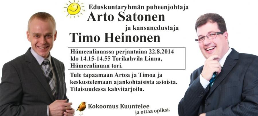 Huomenna Kesäkiertueeni jatkuu... Tällä kertaa kaverina eduskuntaryhmämme puheenjohtaja Arto Satonen. Tervetuloa Hämeenlinnan torille!