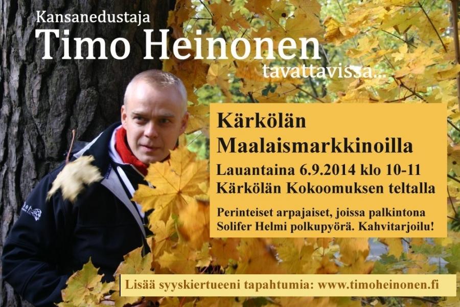 Huomenna sitten taas mennään Kokoomus Kuuntelee -kiertueen parissa. Eli nyt kesän kierros ja yli 40 tapahtumaa ja markkinaa ja toria takana ja nyt syksyllä parisenkymmentä vielä luvassa. Huomenna Kärkölässä.
