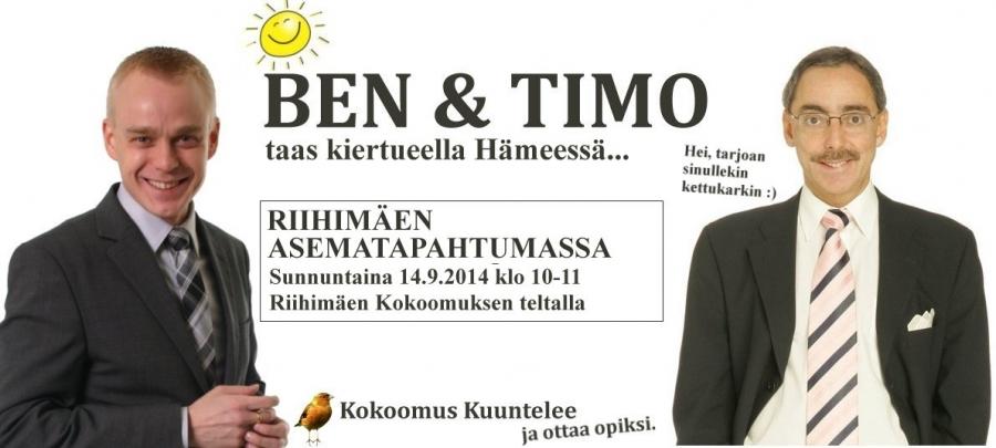 Benin kanssa jatkamme Syyskiertuettamme tulevana syksynä Riihimäen Asematapahtumassa. Tulkaahan moikkaaman Riihimäen Kokoomuksen teltalle kello 10-11.