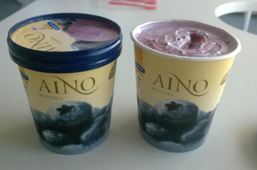 Tässä Turengin Jäätelötehtaalla Nestlen aikana 9 vuotta sitten kehiteltyä Aino-jäätelön uutta mustikka-makua.