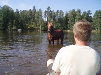 Ravikuningas Eero uimassa Pekkalalla. Loppijärven matala ranta sopi mainiosti harjoitteluun. Uintilenkkejä vedettiin kolme tiukkaa kierrosta. Jari kuvassa liinamiehenä ja minä soutamassa ja valokuvaa ottamassa. Eero uimarina :)