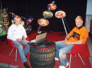 Enduron MM-sarjan hopeamitalisti Marko Tarkkala studiovieraanamme MTV3:n Enduro-ohjelmassa maanantaina 2.10.2006.