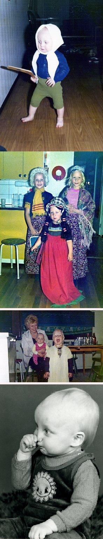 Tässä hieman nostalgiaa. Kaupin Tuulan 60-vuotisjuhlilla tuli muisteltua menneitä ja lapsuuttamme ja jälleen kerran sitä miten Kaupin tytöt pukivat naapurin poikia prinsessoiksi. Tuossa kuvassa muuten tosin veljeni Matti :) mekko päällä. Anteeksi Matti. Muissa kuvissa sitten minä yksin tai veljeni isoveljeni kanssa. Rakas Äitinikin yhdessä kuvassa.