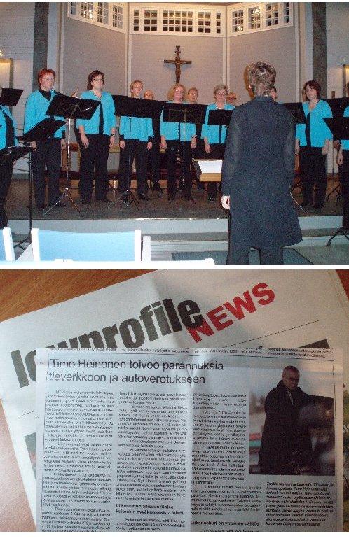 Gaudate! piti joulukonsertin Riihimäen keskuskirkossa toisen adventtisunnuntaina 10.12.2006.  Kuvassa myös Lowprofile Motorsportin tuore lehti, missä toimittaja Jari Kohosen tekemä juttu minun liikennenäkemyksistä. Alla lehden artikkeli kokonaisuudessaan