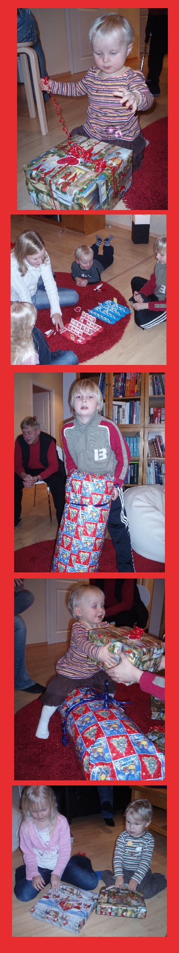 Kummilapsilla riitti virtaa, kun joululahjoja avattiin. Jälleen tontut olivat muutaman paketin jättäneet etukäteen kummien oven taakse :)