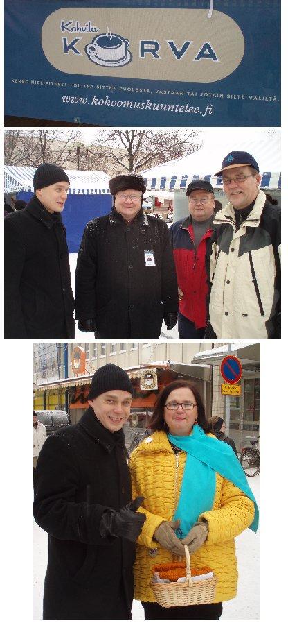 Heinolan kuukausimarkkinoinen torikahvila Korva keräsi hyvin väkeä. Paikalla ehdokkaistamme lisäkseni Merja Vahter ja päivän isäntä Timo Ihamäki. Kiitos järjestäjille.