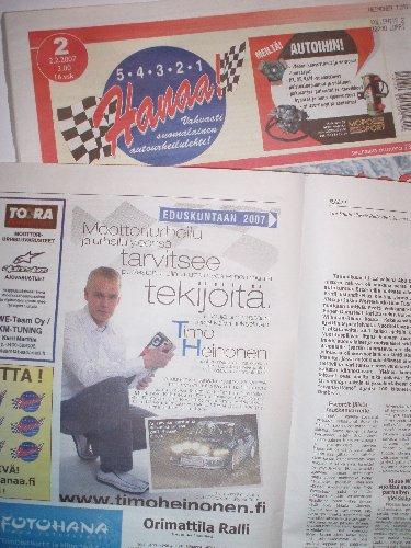 Urheilupuolelle suunnattu kampanjamme on näkynyt mm. Hanaa-lehdessä ja Offroadpro -lehdessä. Erikoislehtien kirjo laajenee vielä ennen vaaleja.