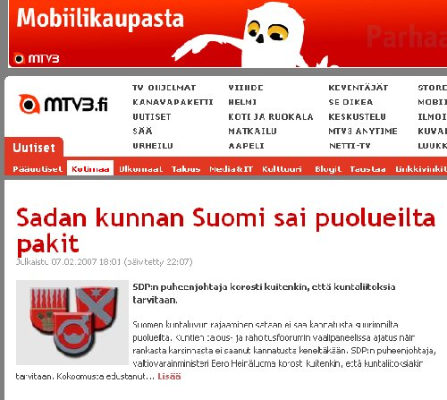 Kuntien rajaaminen 100 nosti myös seutukuntamme MTV3:sen uutisten etusivulle. Pakkoliitoksiin ei kuitenkaan pidä mennä ja onneksi Katainen ja Vanhanenkin olivat tässä selkeällä linjalla.