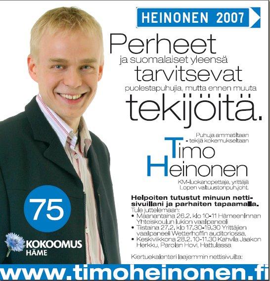 Mainos Hämeenlinnan Viikkouutisiin. Nyt kampanjamme alkaa näkyä.
