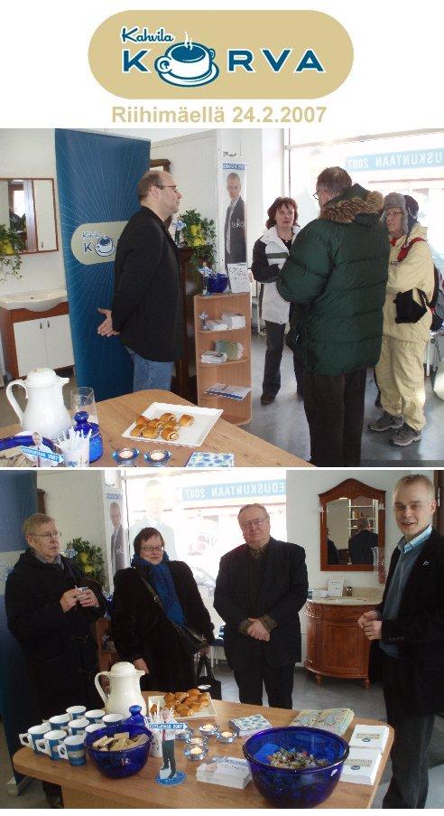 Kahvila Korva Riihimäellä 24.2. vaalitoimisto Heinosessa. Paikalla riitti aamun hiljaisemman tunnin jälkeen puolilta päivin kivasti väkeä. Kahvi ja korvapuustit tekivät kauppansa.