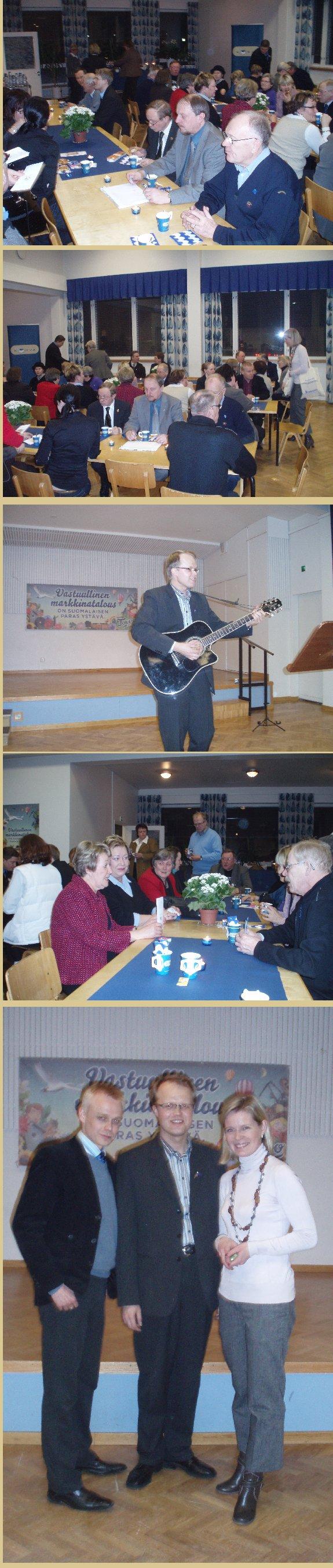 Riihimäen vaalijuhla keräsi hyvin väkeä. Tilaisuuden juonsi ja musiikistakin vastasi Kokoomuksen ehdokas Antero Rönkä Uudeltamaalta.