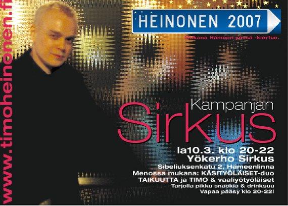 Tervetuloa tänään Hämeenlinnaan yökerho Sirkukseen kello 20-22. Mukana Käsityöläiset duo ja taikuttaa. Tilaisuus on avoin kaikille - oletpa sitten puolesta, vastaan tai jotain siltä väliltä.