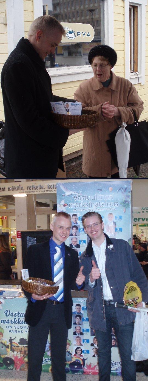 Viimeinen kampanjapäivä enää iltajuhlia vaille valmis. Tänään kiersin vielä Riihimäen, Hämeenlinnan ja Tuuloksen. Tuulosessa mukana oli kokoomus nuorten ja Antti Ahosen kutsumana vaalityötä tekemässä myös joukko ruotsalaisia kokoomuksen sisarpuolueen aktiiveja nuoren 24-vuotiaan kansanedustaja Fredrik Schulten kanssa.