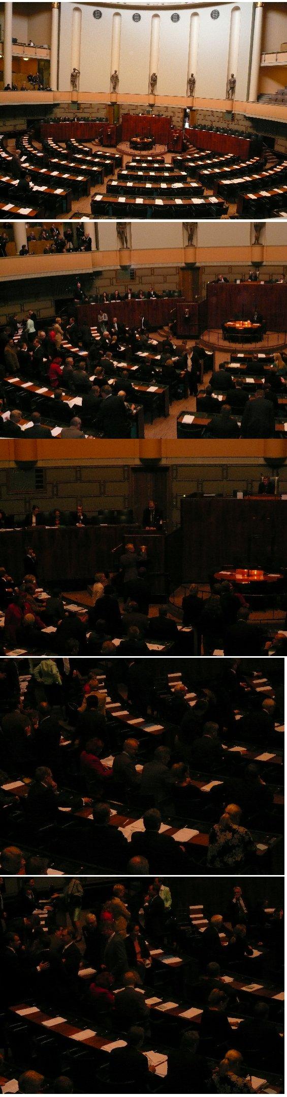 Täysistunto 24.4.2007. Istunto alkoi puhemiehenvaaleilla ja sitten jatkui hallitusohjelman tiedoksiannolla ja keskustelulla.