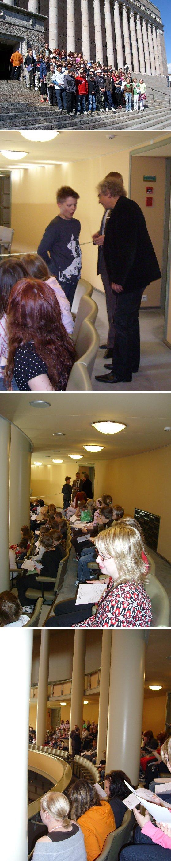 Lopen kunnan Kirkonkylän koulun viitoset ja kuutoset vierailivat eduskunnassa keskiviikkona. Entinen kouluni ja vanhoja tuttuja oppilaita - haikea hetki.