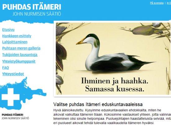 Puolueemme Pertti Salolainen nosti tänään esille eduskunnan kyselytunnilla Itämeren tilanteen. Yksi hyvä paikka auttaa on John Nurmisen -säätiö. Kurkatkaapa sivut! http://www.puhdasitameri.fi/