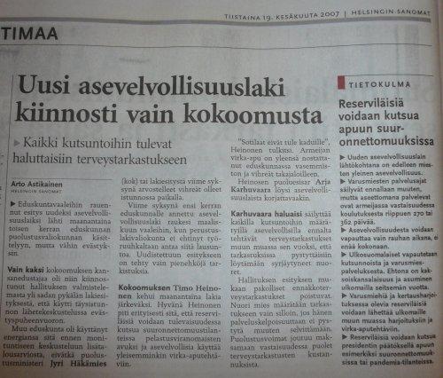 Helsingin Sanomat uutisoi tänään laajasti eilisen puheenvuoroni.