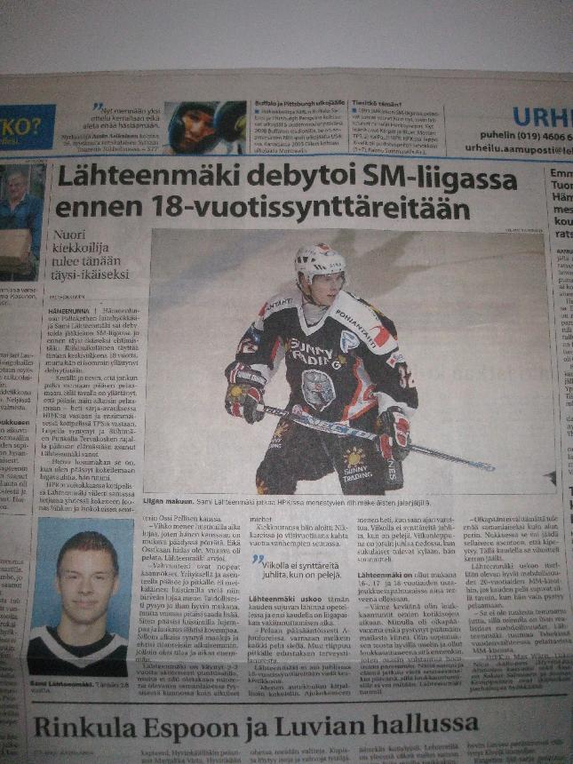 Aamun keskiviikon 19.8.2007 Aamuposti kertoi Sami Lähteenmäen ensimmäisistä liigapeleistä. Onnea tänään 18-vuotispäivänä!