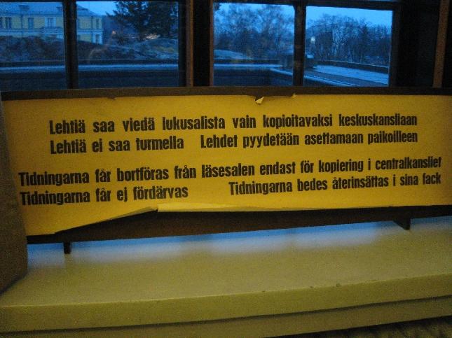 Yksityiskohta Eduskuntatalosta: Ohjeita kansanedustajille :)