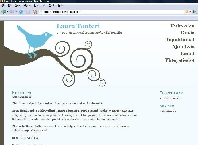 Uusi nuori kykymme Riihimäeltä - Laura Tonteri - avasi nyt nettisivunsa syksyn kuntavaaleja silmällä pitäen. Kannattaa kurkata nyt ja jatkossakin kun sivut täydentyvät: http://www.lauratonteri.info