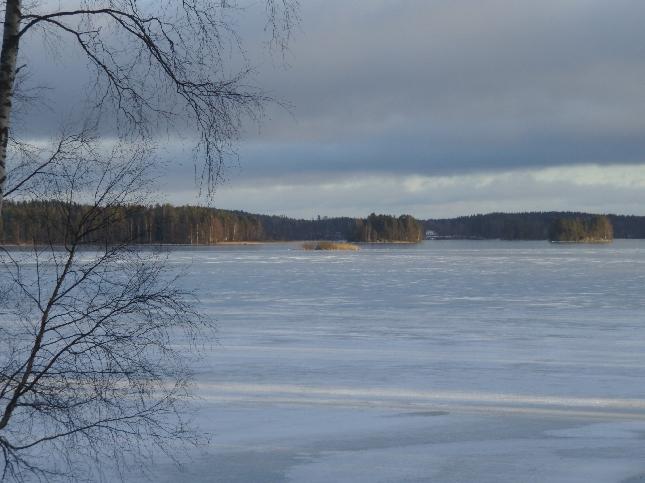 Päivällä ehdin vielä nauttia myös hetken mökin rauhasta. Järvi oli upean näköinen ja jos nyt hieman pakastaisi niin jäällekin uskaltaisi. Vaikkapa matkaluistimilla.