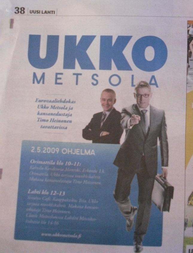Upea neljäsosa sivun mainos Uusi Lahti -lehdessä. Parhaalla paikalla. Oli näköjään huomattu. Ja mukava oli huomata miten moni tuli myös varta vasten minuakin tapaamaan. Sellainen aina lämmittää mieltä.