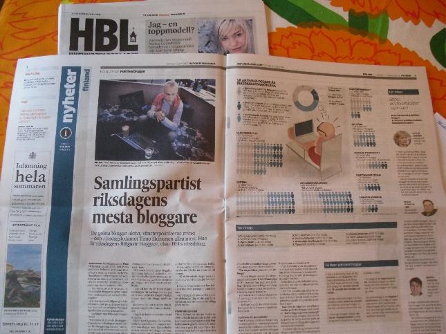 Hbl:n pääjuttu liittyi sunnuntaina lehden tutkimukseen nettibloggaamisesta.
