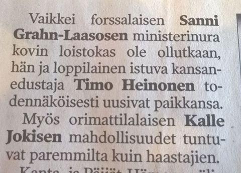 Hämeen Sanomissa 29.3.2015 arviota tulevista vaaleista. Äänestyspäivä ratkaisee eli hyvä kampanja ja oma työ. Matkaan siis...