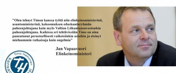 Päivän Tukijana 18.3.3015 elinkeinoministeri Jan Vapaavuori. Liity sinäkin yli 600 hengen tukijoukkooni täällä netissä Eduskuntavaalit-sivun kautta.
