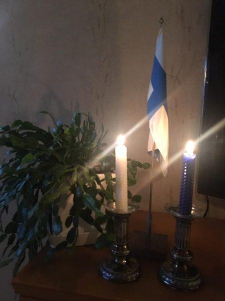 Presidentinlinnassa kasvoi Rouva Alli Paasikiven aikaan tämä joulukaktus. Lasteni isotäti sai kukasta pistokkaan lähtiessään eläkkeelle ja nyt tämä kukka kasvaa meidän kotona ja odottaa pääsyä takaisin Presidentinlinnaan. Tänään Allin joulukaktuksen vieressä vapaan isänmaan sinivalkoiset kynttilät.
